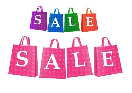 Set of sale shopping bag on white Иллюстрация
