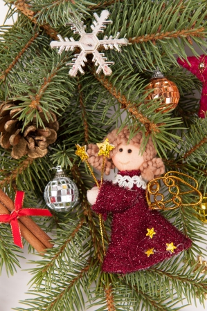 christmas tree decoration with angel on white photo