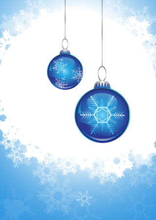 blue christmas ball and snowfall