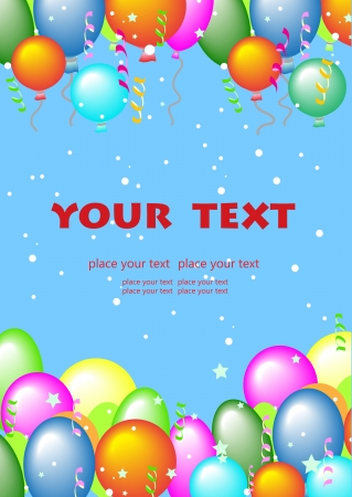 greeting card with flying balls and place for text Иллюстрация
