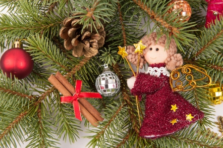 christmas tree decoration with angel on white