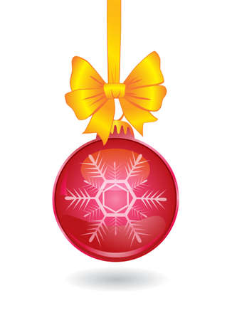 red christmas ball and golden bow Иллюстрация