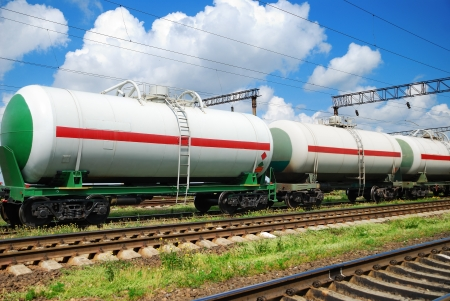 railroad transportation tank cars with oil photo