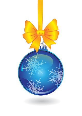 christmas ball with golden bow on white Иллюстрация