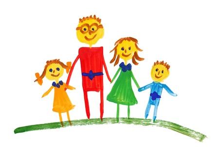 niños dibujando: familia feliz. acuarela dibujo
