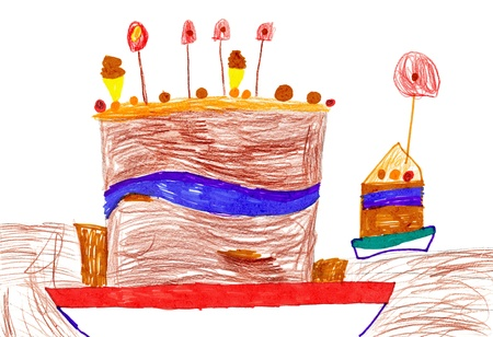 Big cartoon birthday cake. children's drawing. Stock Photo - 16570930