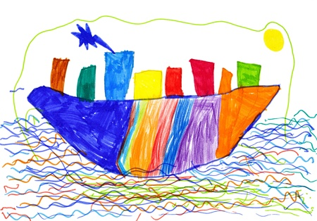 city on ship and sea children's drawing. Stock Photo - 16570929
