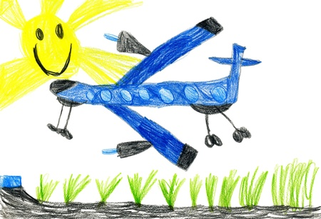passenger airplane. children's drawing.  photo