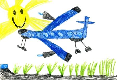 passenger airplane. children's drawing. Stock Photo - 16570960