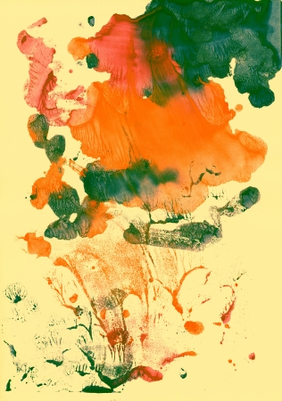 contrast resolution: Abstract green and orange background from watercolor Stock Photo