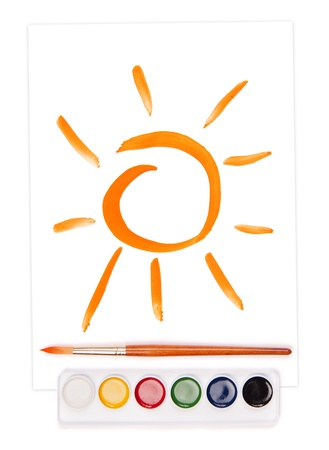 painted sun and watercolor set Stock Photo - 16754933