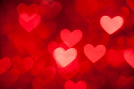love image: red hearts bokeh as background