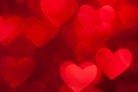 good color: red hearts bokeh as background