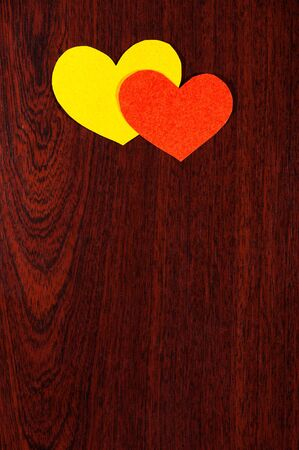 two hearts on a wooden background Stock Photo - 16755017