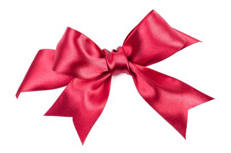 big red bow made from silk ribbon photo