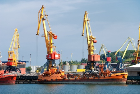 cargo ship in industrial port photo