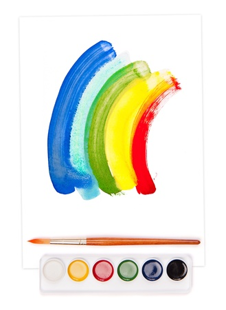 babyish: painted rainbow on sheet, watercolor set and brush