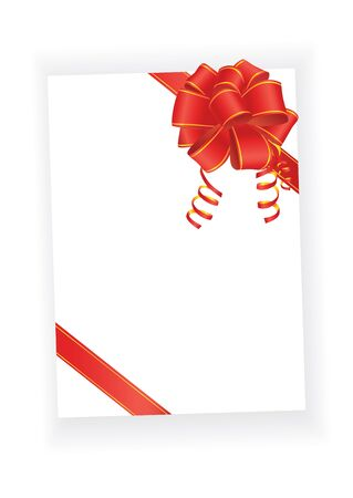 red bow on blank paper sheet Vector