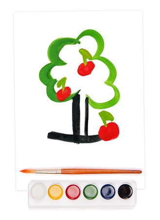 painted apple tree on sheet, watercolor set and brush Stock Photo - 17444381