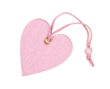 pink decorative fabric heart isolated