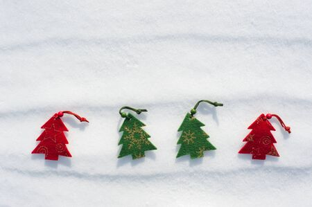christmas tree toys at snow photo