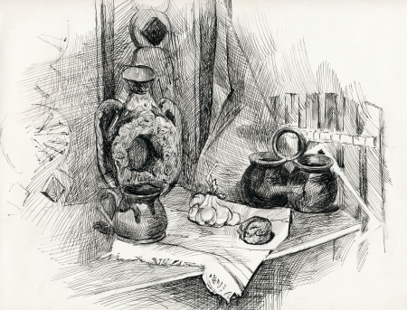 reflection of life: still life. pencil drawing.