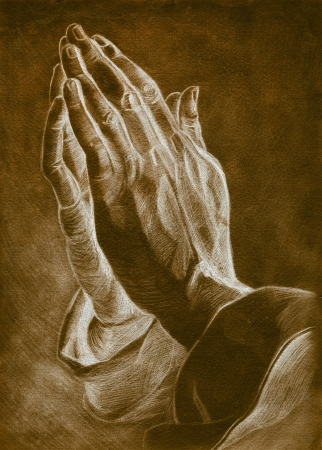hands in: two hands in pray pose. pencil drawing.