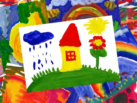 home on meadow with illustration collage illustration