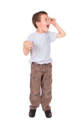 wow: gritos del muchacho wow Foto de archivo