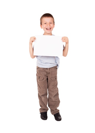 smiled: smiled boy with blank sheet paper