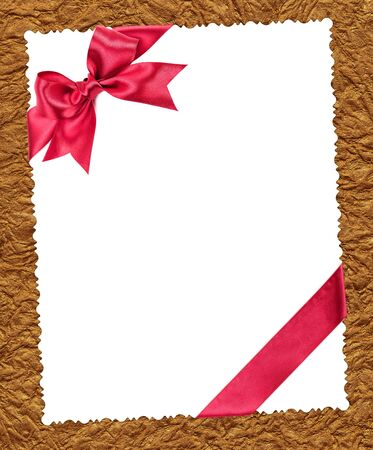 blank paper sheet with red bow on golden