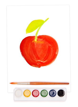 painted apple on sheet, watercolor set and brush Stock Photo - 18054438