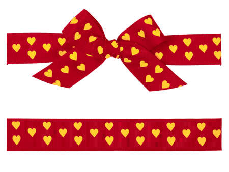 red bow with yellow hearts and ribbon photo