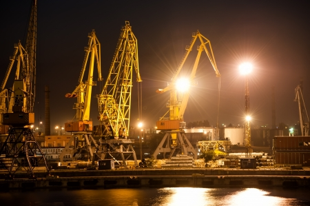 night view of the industrial port photo