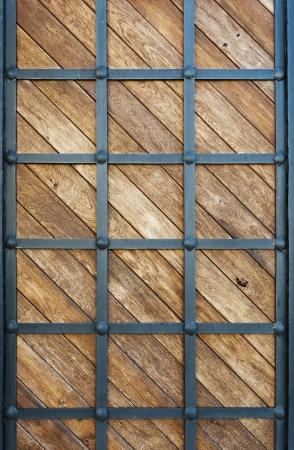 smithery: wood clad iron background Stock Photo