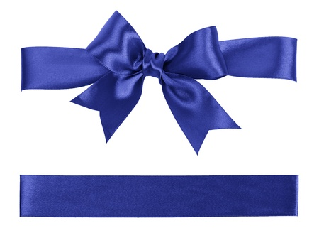 big blue bow made from silk ribbon
