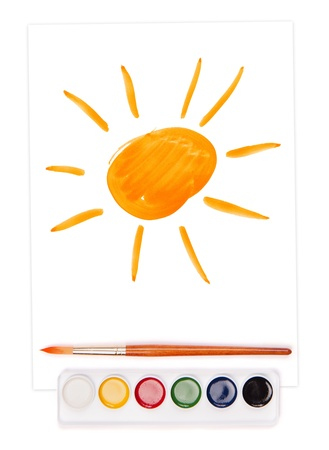 painted sun on sheet, watercolor set and brush Stock Photo - 18358074
