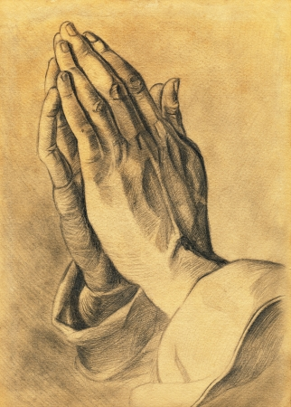 holy god: two hands in prayer pose  pencil drawing