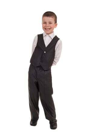 smiling boy in suit isolated photo