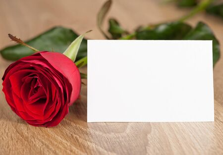 red rose and white sheet on wood photo