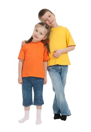 smiling boy and girl isolated on white photo