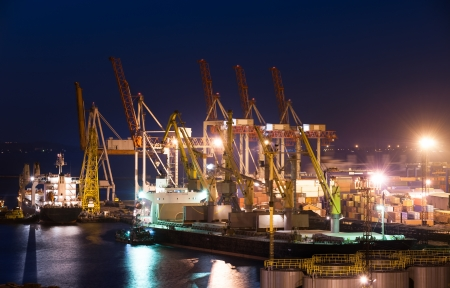 Port and ship at night photo