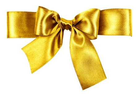 golden bow made from silk ribbon photo