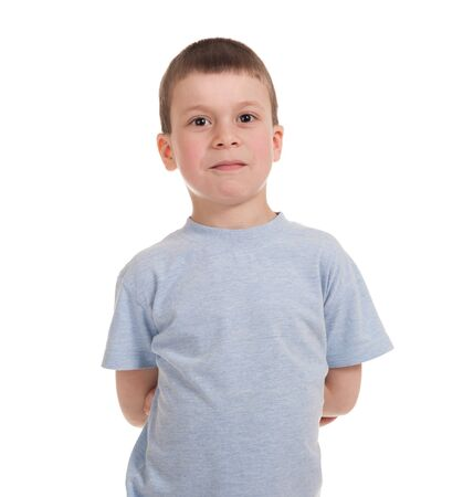 rollick: boy posing. isolated on white