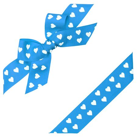 blue bow with hearts and ribbon photo