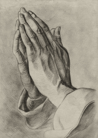 liturgy: hands in pray pose. pencil drawing. Stock Photo