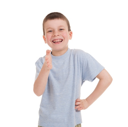 rollick: greeting boy isolated on white