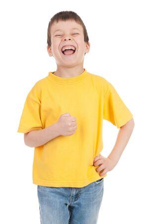 boy in the yellow laughs Reklamní fotografie