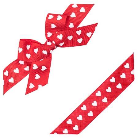 red bow with hearts and ribbon photo