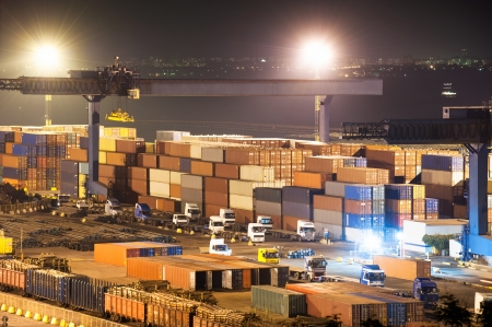 Containers in port at night 스톡 콘텐츠